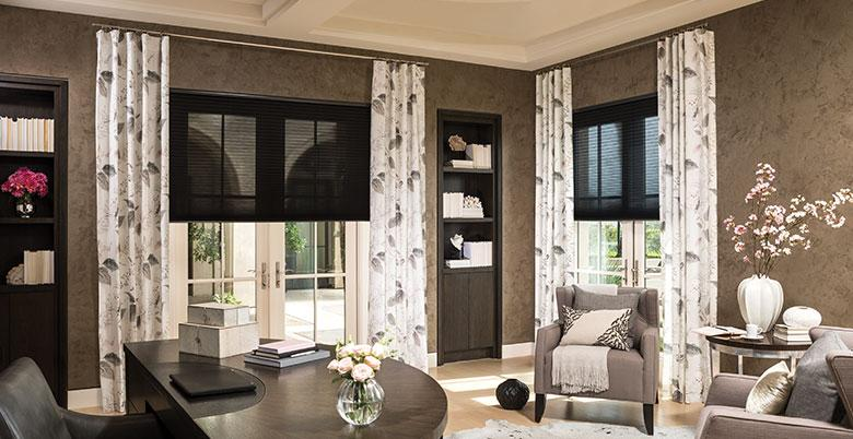 Cellular Shades with Layered Drapery