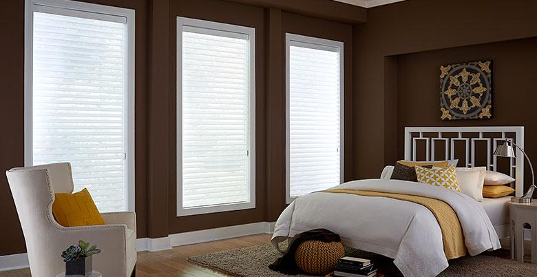 Horizontal Sheer Shades in Guest Room