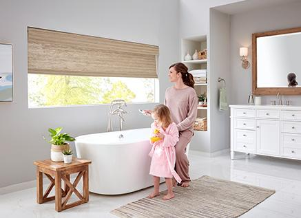 Mom and Daughter with Cordless Window Treatments
