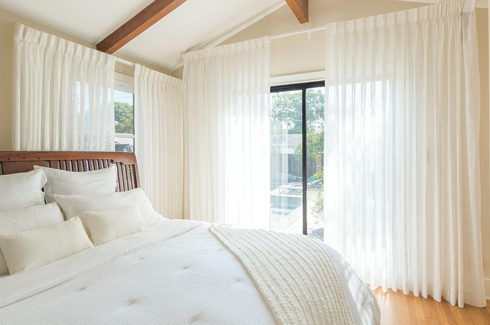 White Sheer Drapery in Bedroom