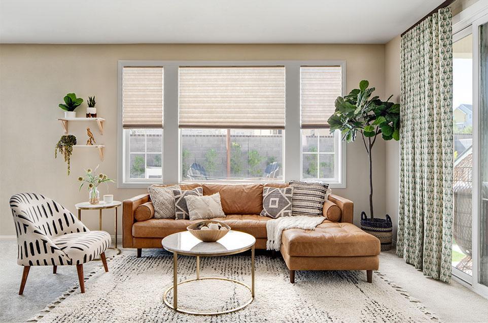 Woven woods in living room