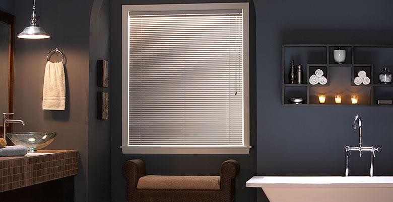 Mini Blinds in Bathroom Window