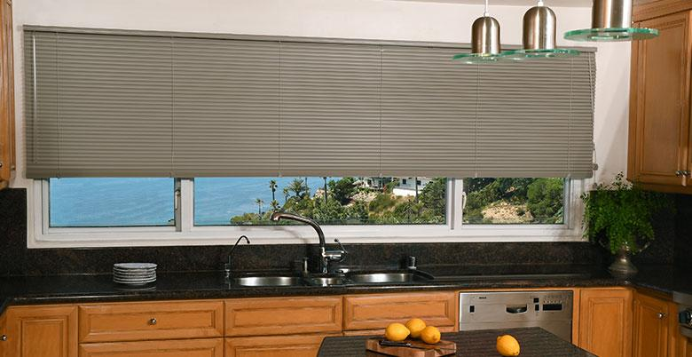Mini Blinds in Grey in Kitchen