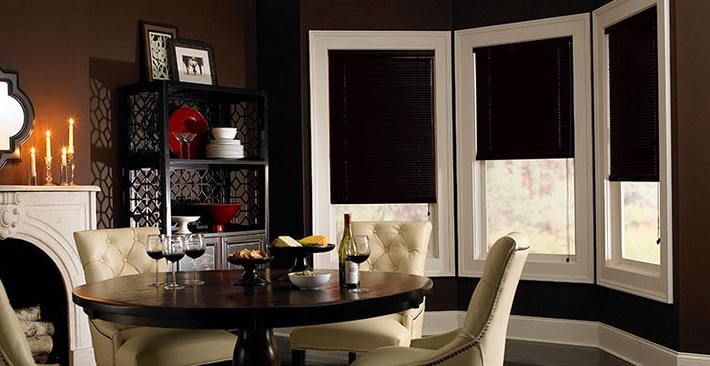 Mini Blinds in Black in Dining Room