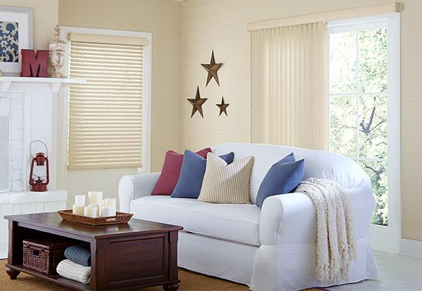 Vinyl and Vertical Blinds Living room