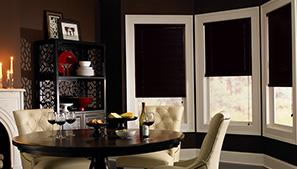 Dark Mini Blinds in Dining Room