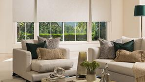 Tan Roller Shades in quaint living room