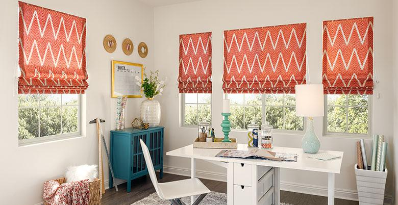Soft Roman Shade in a Craft Room