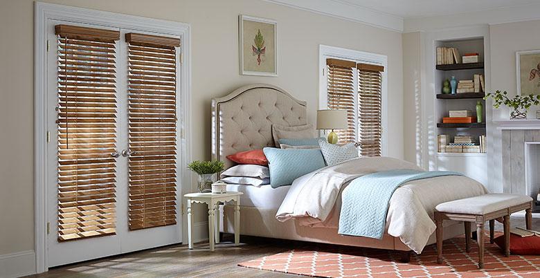 Wood Blinds in Bedroom