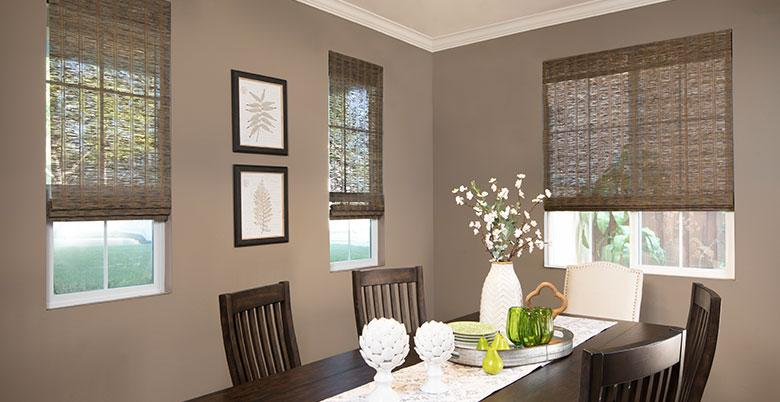 Woven Wood Shades in Dining Room