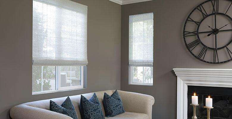 Woven Wood Shades in Family Room